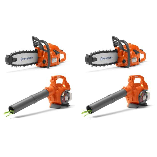 HV-TOY-522771104 + 2 x HV-TOY-589746401 Husqvarna Battery Operated Chainsaw Toy (2 Pack) and Leaf Blower Toy (2 Pack)