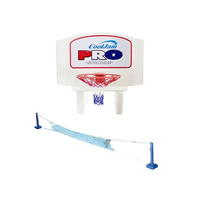 9195M + 9186 Swimline Super Wide Inground Swimming Pool Basketball Hoop & Volleyball Net