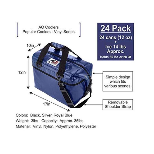 AOFI24SL AO Coolers AOFI24SL 24 Can Vinyl Double Insulated Fishing Soft Cooler, Silver 1