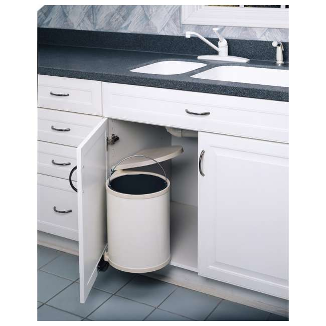 8-010212-14 Rev-A-Shelf 8-010212-14 14 Liter Steel Under Sink Kitchen Waste Container, White 1