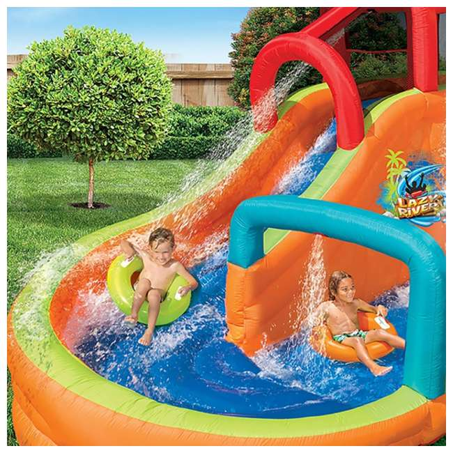 14000 Banzai Kids Inflatable Lazy River Adventure Water Park Slide and Pool (Open Box) 4