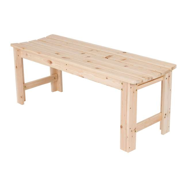 SHN-4204N Shine Company 4 Foot Backless Yellow Cedar Bench for Garden and Patio, Natural