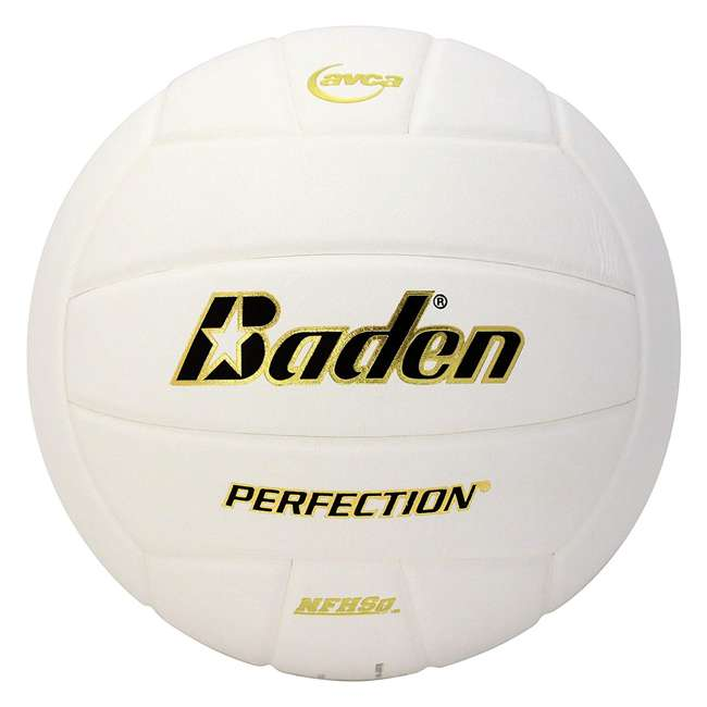 VX5E-02 Baden Perfection Leather Indoor Court Play Game Official Size Volleyball, White