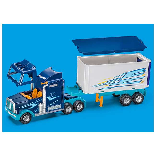 9314 Playmobil 9314 Big Rig w/ Action Figure and Semi Truck & Trailer Play Set, Blue 5