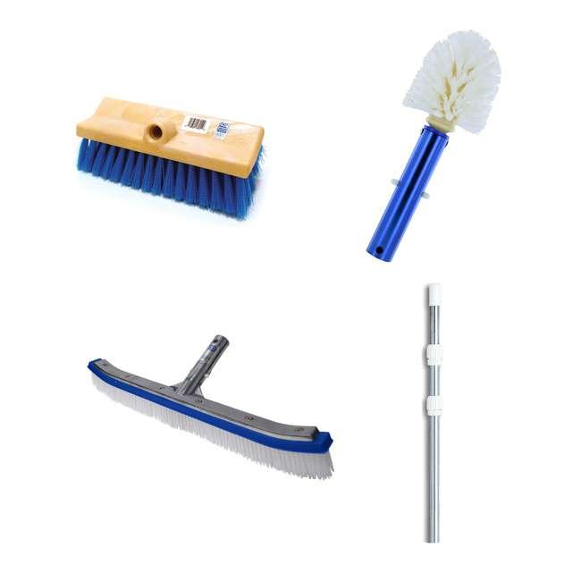 B3518 + B3525 + B3012 + 8350M Blue Devil 18 Inch Brush, 360 Brush, Deck n Acid Brush and Swimline 12 Foot Pole