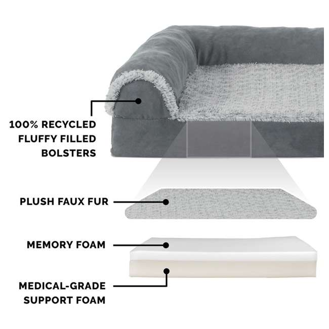 64541087BX Furhaven Deluxe Memory Foam L Shaped Chaise Sofa Pet Dog Bed, Stone Gray, Jumbo 3