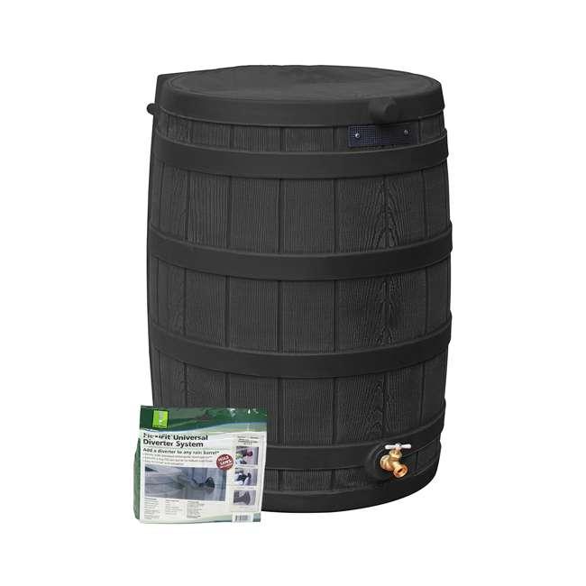 RW50-DIV-BLK Good Ideas Rain Wizard Rain Collection Barrel 50-Gallon w/ Diverter Kit, Black