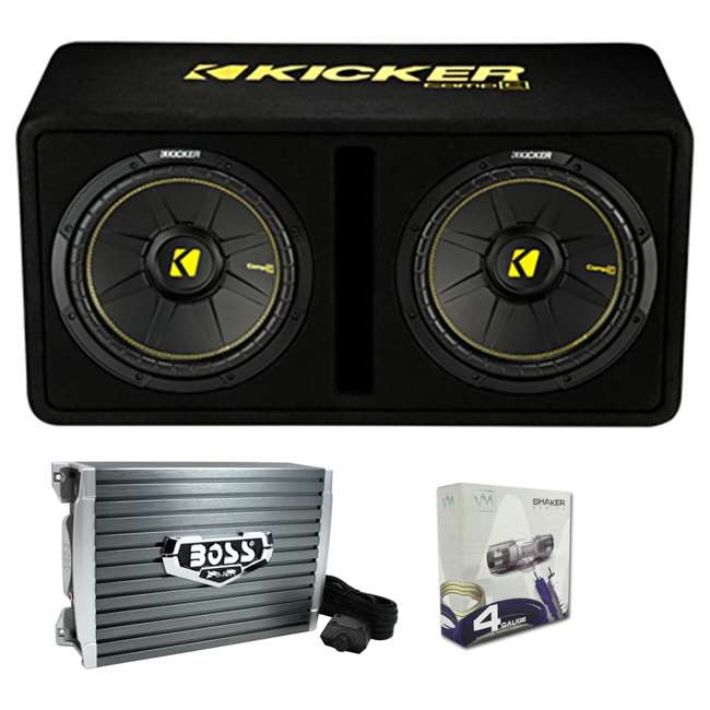 44DCWC122 + AR1500M + 4GAMPKIT-SFLEX Kicker 44DCWC122 12-Inch 1200W Subwoofer Enclosure with Mono Amplifier Amp