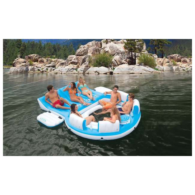 56299EP + 58821EP Intex Island Pool Lake Raft Lounger w/ Inflatable 72 Can Beverage Cooler Float 2
