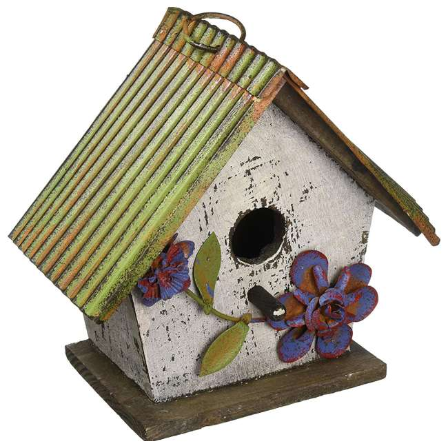 63972 Carson Home Accents 63972 Wood and Tin Floral White Outdoor Birdhouse, Floral