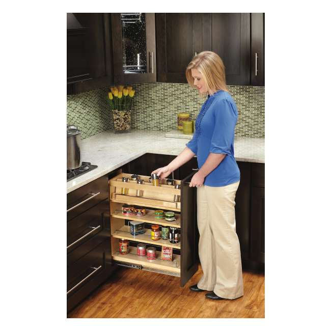 448-BC-8C-16 Rev-A-Shelf 448-BC-8C Base Cabinet Pullout Organizer w/ Wood Adjustable Shelves 6