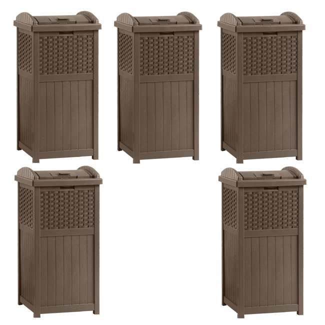 5 x GHW1732 Suncast Trash Hideaway 33 Gallon Resin Wicker Outdoor Garbage Container (5 Pack)