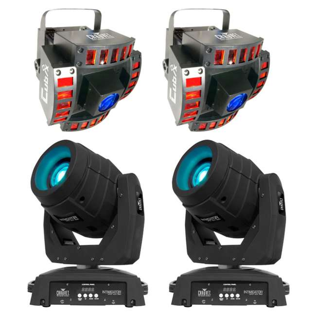 INTIM-SPOTLED350 + 2 x CUBIX Intimidator Spot 350 CHAUVET LED Moving Head DJ Lights (2) + Cubix Lights (2)