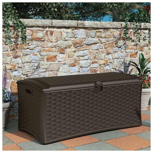 12 x DBW7000 Suncast 72-Gallon Capacity Resin Wicker Patio Storage Box, Brown (12 Pack) 2