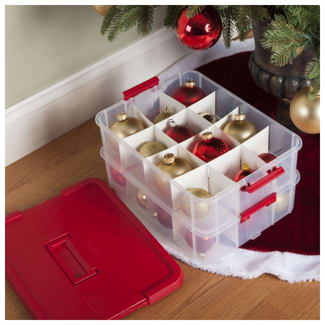 4 x 14276604-U-A Sterilite 24 Compartment Christmas Ornament Storage Box (Open Box) (4 Pack) 1
