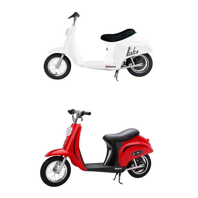 15130608 + 15130656 Razor Pocket Mod Miniature Euro 24V Electric Retro White Scooter & Red Scooter