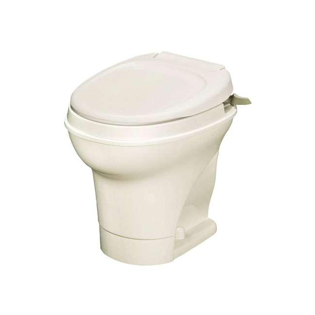 31668 Thetford 31668 Aqua Magic V Hand Flush RV Travel High Profile Toilet, Parchment