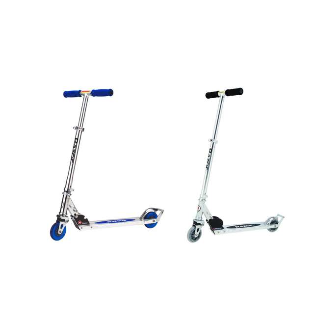 13003A2-CL + 13003A2-BL Razor A2 Kids Folding Aluminum 2 pack Kick Scooter w/ Wheelie Bar, Blue & Clear