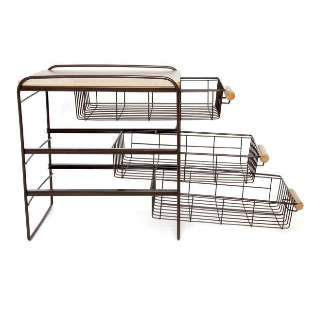 RA3TS-WB-BRN Origami Kitchen Countertop 3-Drawer Wood Top Organizer, Brown 5