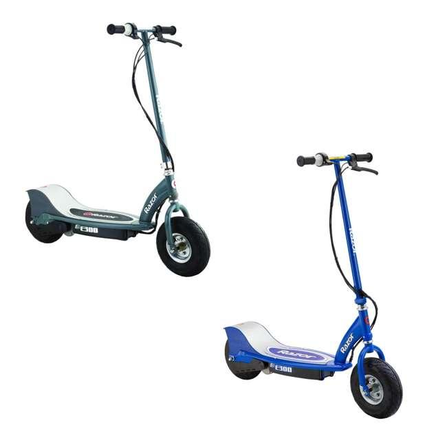 13113614 + 13113640 Razor E300 Electric Motorized Scooters, 1 Gray & 1 Blue