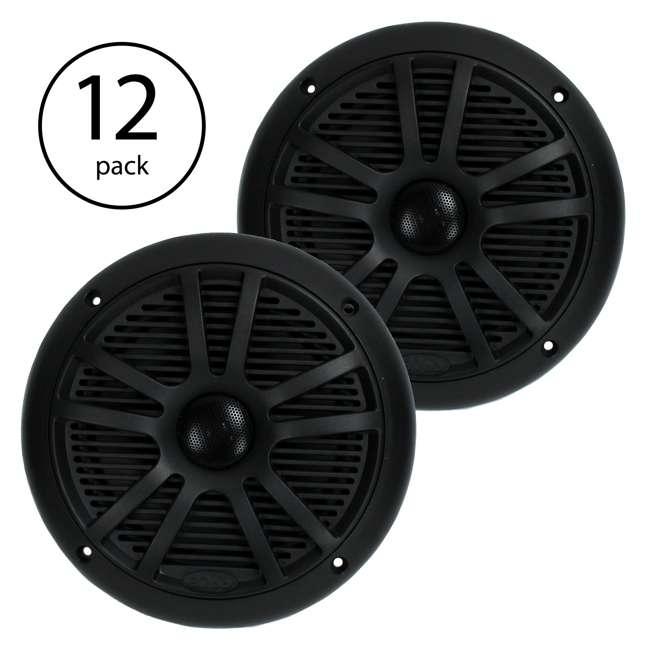 "6 x MR6B Boss 6.5"" 180W Dual Cone Black Marine Audio Speakers (12 Pack)"
