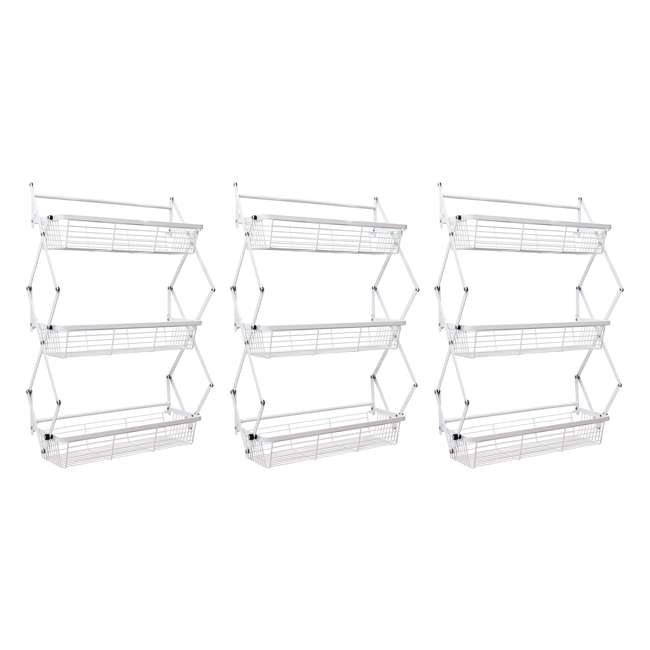 3 x OTD-3R-WHI Supermoon Products Over the Door 3 Tier Hanging Rack (3 Pack)