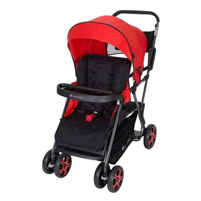 SS80A07A Baby Trend SS80A07A Sit N Stand Folding Compact Two Seat Baby Stroller, Red