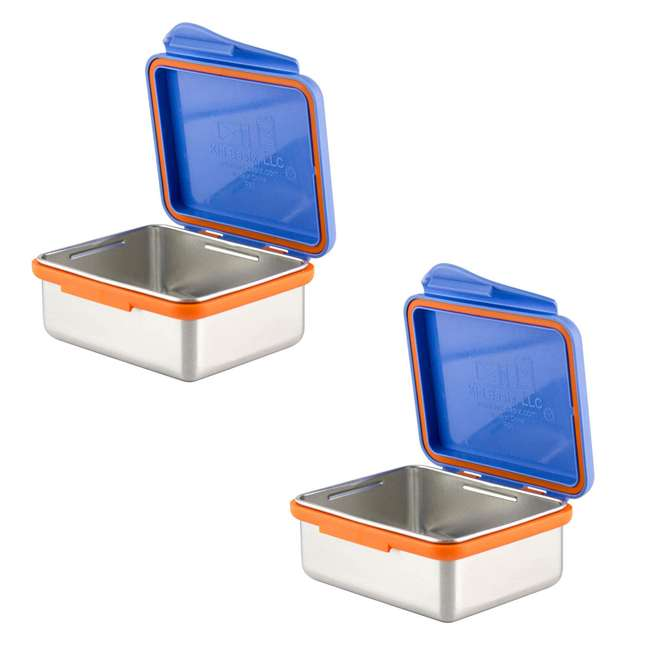 894148002916 Kid Basix 13 Ounce Reusable Lunch Container with Attached Lid, Blue (2-pack)