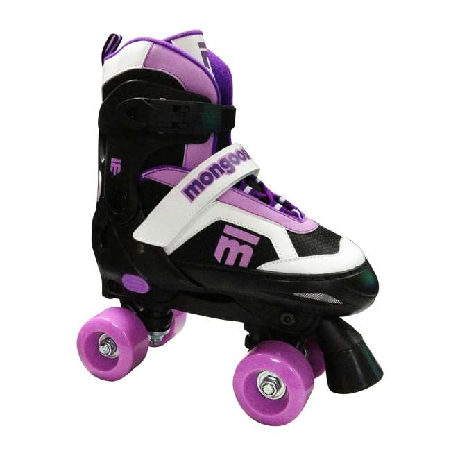 MG-097G-L-U-A Mongoose Girls' Size Large Quad Comfortable Roller Skates, Purple (Open Box)