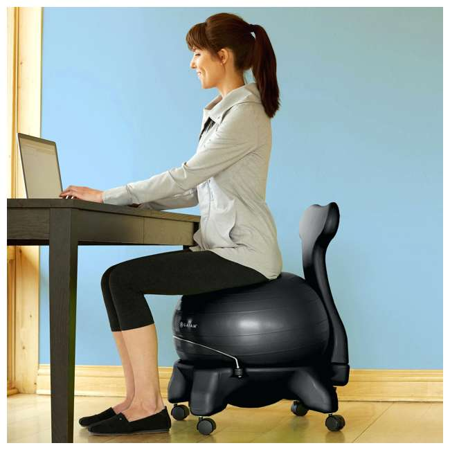 610-6002RTL-U-C Gaiam Classic Gym Yoga Exercise Balance Ball Office Desk Chair (For Parts) 3