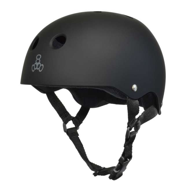 T8-1351-U-B Triple 8 Hardened Skate Helmet w/ Sweatsaver Liner, Black Rubber - Small (Used)