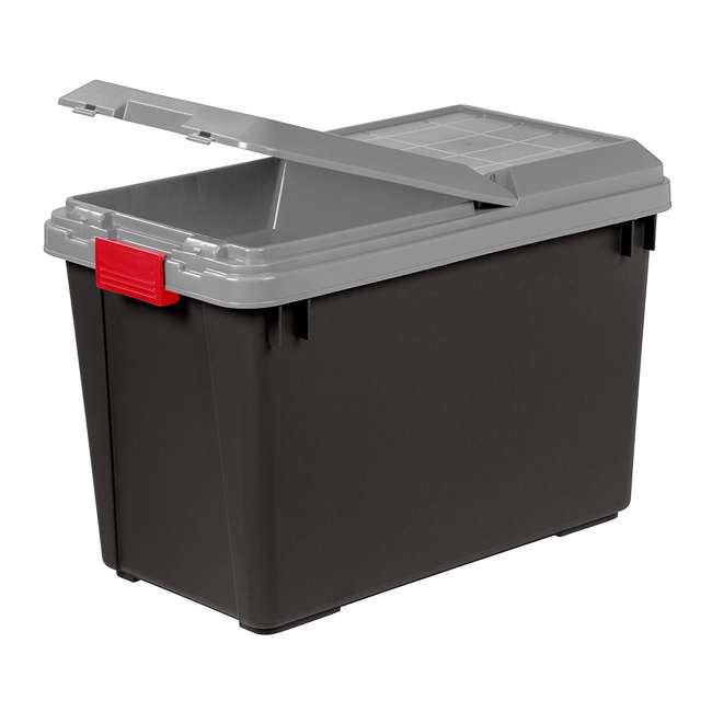 585735-4PK IRIS USA 102 Qt. Store It All Heavy Duty Storage Container Tote, Black (4 Pack) 1