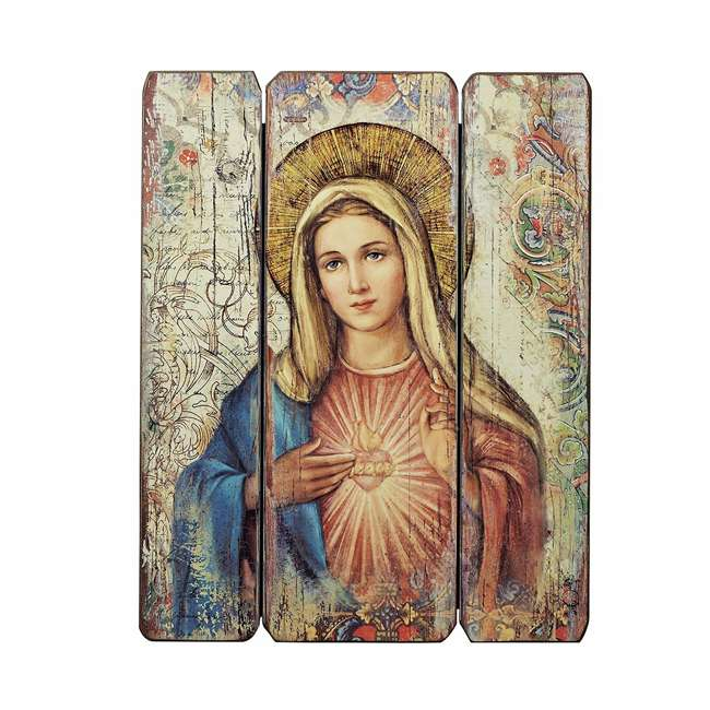 RM-69968 Roman, Inc. 15 Inch Immaculate Heart of Mary Wooden 3 Wall Panel