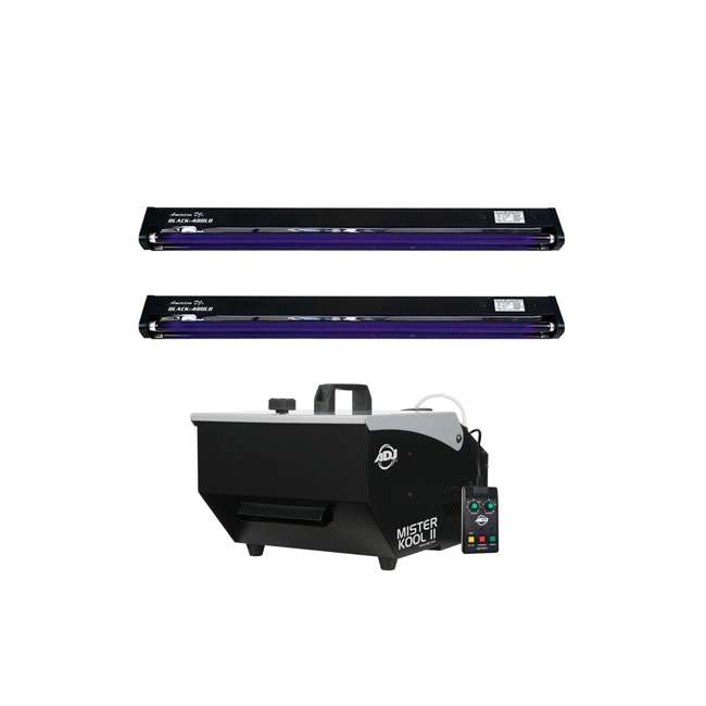 MISTER-KOOL-II + 2 x BLACK-48BLB American DJ Mister Kool II Fog Machine + ADJ 48 In. Black Light Fixture (2 Pack)