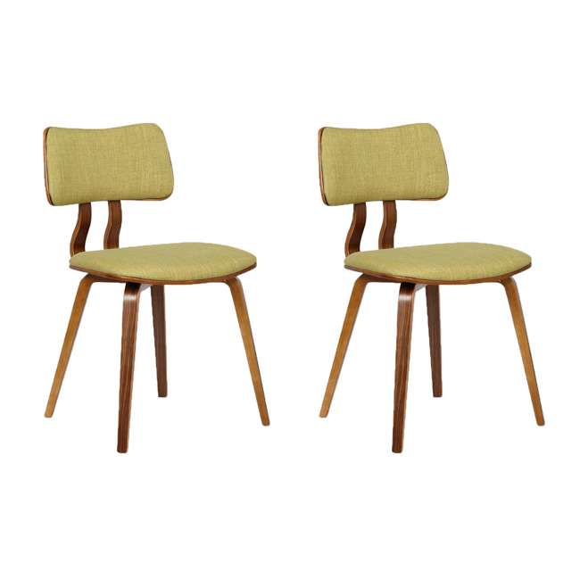 LCJASIWAGREEN Armen Living Jaguar Mid Century Dining Chair in Walnut & Green Fabric (2 Pack)