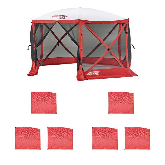 CLAM-ESS-14200 + 2 x CLAM-WP-ESS-14204 Clam Quick Set Tailgating Shelter + Wind & Sun Panels (6 pack)