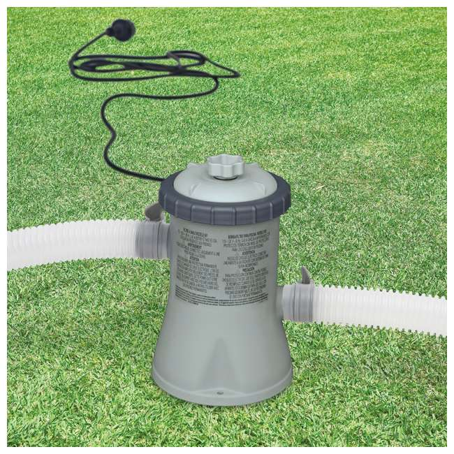 28200EH + 28601EG Intex 10 x 2.5 Foot Round Metal Frame Above Ground Pool + 330 GPH Filter Pump 2