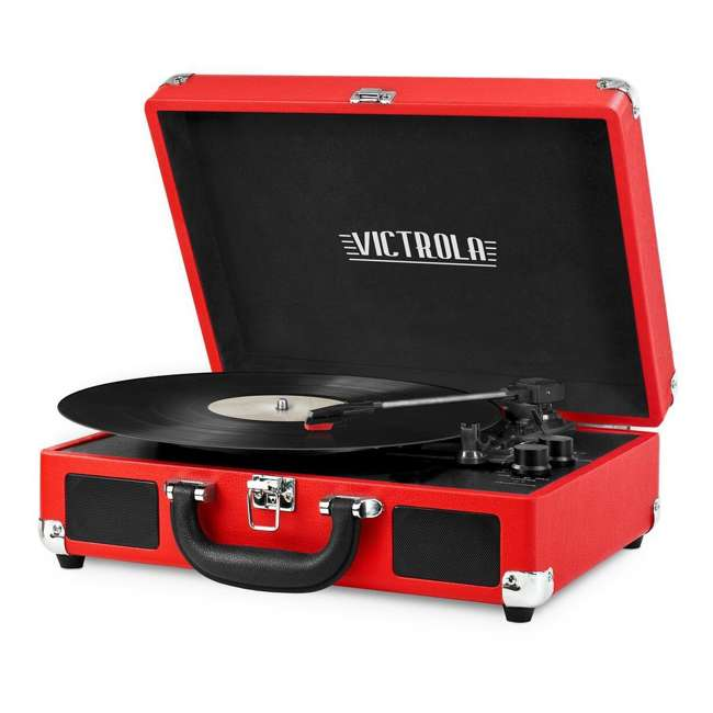 VSC-550BT-RD Victrola 3-Speed Bluetooth Suitcase Record Player, Red