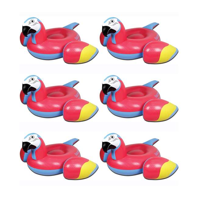 6 x 2183248-MW Margaritaville Swimming Pool Rideable Parrot Inflatable Float, Red (6 Pack)