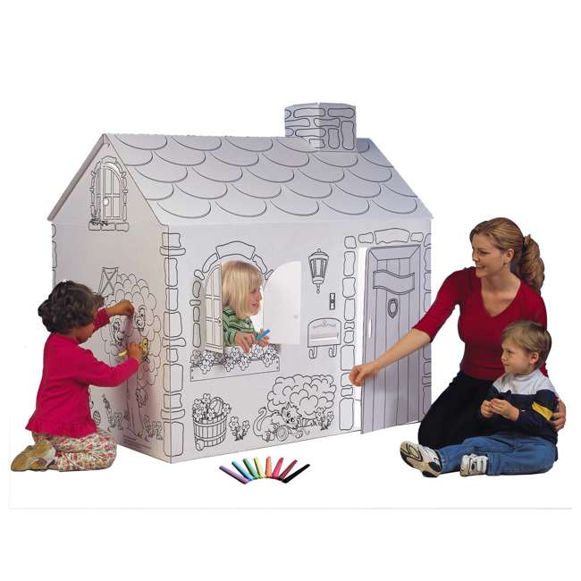 """MH5536R My Very Own House Kids Cardboard Coloring Playhouse Cottage, 49""""H x 36""""L x 55""""W"""