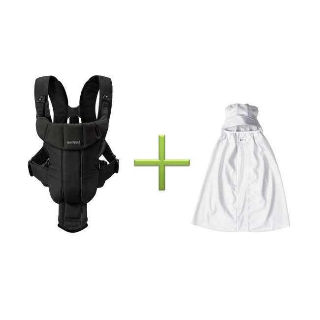 Active-BLACK-BLACK + Sun-Cover BabyBjorn Baby Carrier Active - Black/Black & Sun Cover Combo