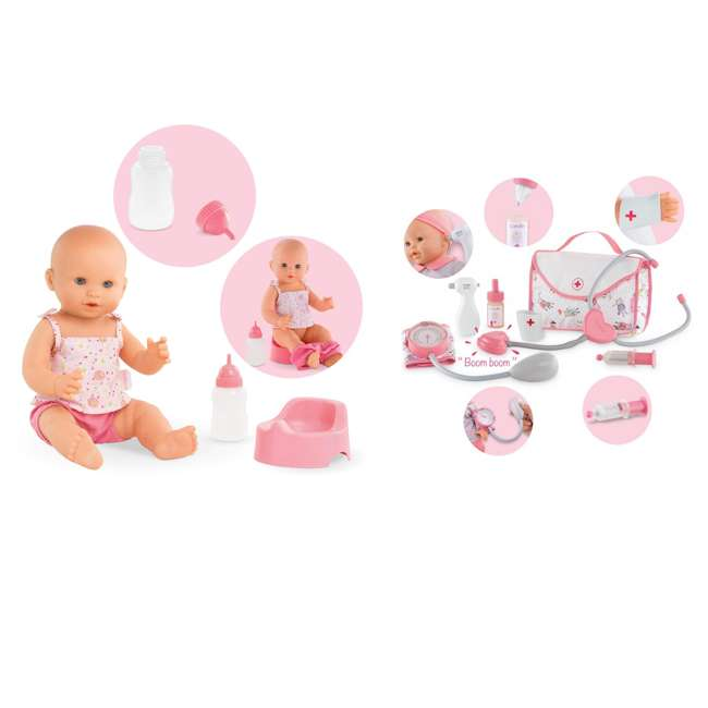 FPK23 + FRV09 Corolle Mon Grand Poupon Drink & Wet Potty Training Emma Doll and Doctor Set