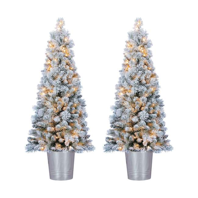 TV46M3I05C04 Home Heritage 4.5 Feet PVC Pre Lit Artificial Christmas Tree w/ Stand (2 Pack)