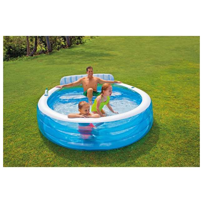 57190EP-U-A Intex Swim Center Infalatbale Family Lounge Pool with Bench  (Open Box) (2 Pack)
