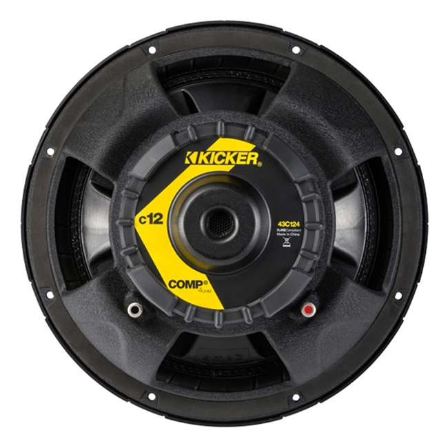 """TW12-SINGLE + 43C124 Q Power 12"""" Subwoofer Box Enclosure (2 Pack) & KICKER 12"""" Subwoofer 9"""