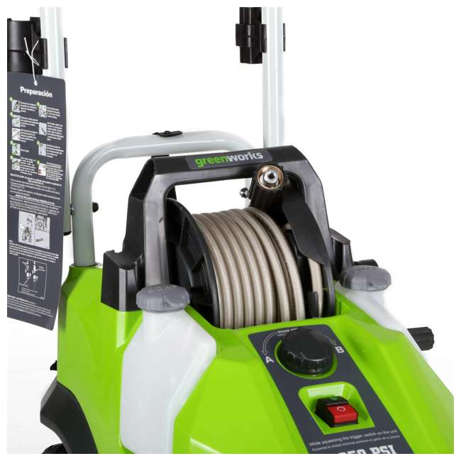 GW-5100902 Greenworks 5100902 1950 PSI 13 Amp 1.2 GPM Pressure Washer with Hose Reel, Green 2
