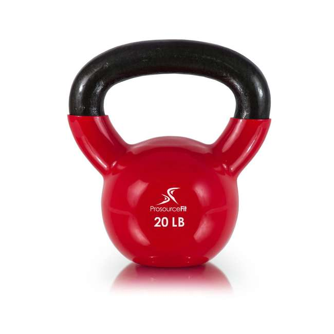 ps-1963-vck-20 Prosource Fit 20 Pound Vinyl Coated Easy Grip Solid Cast Iron Kettlebell, Red