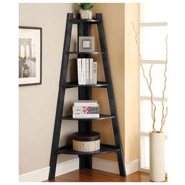 IDF-AC6214BK Furniture of America Lyss Contemporary 5 Tier Wooden Corner Ladder Shelf, Black 1
