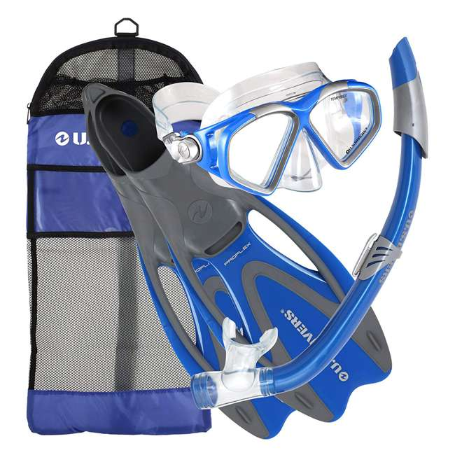 SR259O4015ML-U-A U.S. Divers Adult M/L Snorkeling Mask, Snorkel, Fins Set w/ Bag, Blue (Open Box)