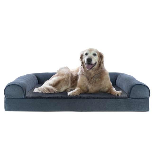 85503225BX Furhaven Cooling Gel Memory Foam Faux Fleece Couch Pet Bed, Orion Blue, Jumbo 1